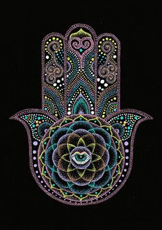 Dot Painting - Dot Hamsa Hand Mandala by Nobuaki Suzuki bird womam in centrevcame out fowards screem