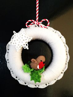Crochet Christmas Wreath on Etsy, £25.00