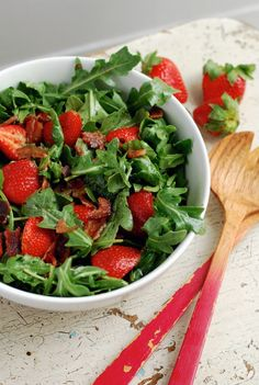White Balsamic Strawberry Salad with Crumbled Bacon