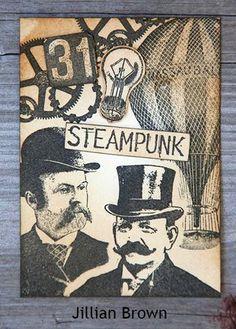 ATC by Jillian Brown using Darkroom Door Steampunk Rubber Stamps. http://www.darkroomdoor.com/rubber-stamp-sets/rubber-stamp-steampunk