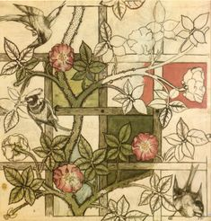 William Morris, a major player in the Arts and Crafts Movement. Intricate natural subjects incorporating definitive outlines and subdued colours.