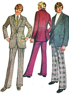 Vintage 1970s Simplicity 5161 mens suit. The pants with turn back cuffs have fly front zipper, back welt pockets, topstitched side front pockets,