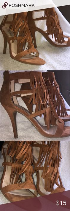 Brown fringe heels 👠 Brown fringe heels that's only been worn once. Zip in the back to ankle. Perfect for now and through the summer. Cute shoes to dress up or down. Super cute with ripped or boyfriend jeans. 💕😊🌟 Anne Michelle Shoes Heels