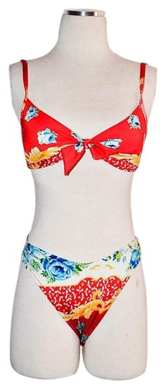 0616dfd45ea8a Red Rare Vintage Hi-cut Bikini - Made In Italy One-piece Bathing Suit