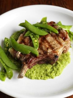 Pork with minted pea purée