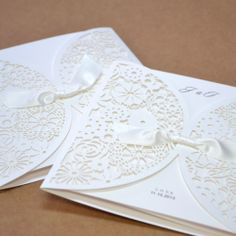 1 Set Kit Luxury Laser Cut Satin Ribbon Wedding Cards Invitation BH2065 White | eBay
