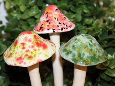 Ceramic garden art - Three medium ceramic mushrooms by FabulousFungi on Etsy