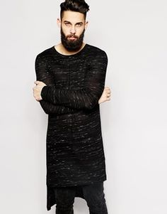 Enlarge ASOS Extreme Longline Long Sleeve T-Shirt With Stepped Hem In Nepp Fabric