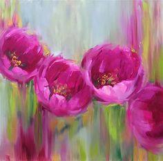 """Daily Paintworks - """"When Disney Calls - Given Time Pink Tulips"""" - Original Fine Art for Sale - © Nancy Medina"""