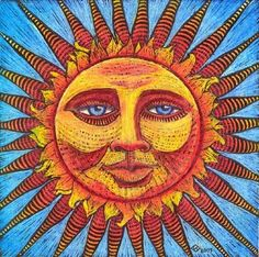 Summer Solstice Today, in the Northern Hemisphere, we celebrate the beginning of summer and the longest day of the year. Solstice comes from the Latin words 'sol' - sun, and 'sistere' - to stand. Sun Moon Stars, Sun And Stars, Sun Drawing, Sun Illustration, Moon Symbols, Good Day Sunshine, Sun Designs, Sun Art, Moon Design