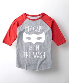 Take a look at this Athletic Heather & Red 'My Cape' Raglan Tee - Toddler & Kids today!