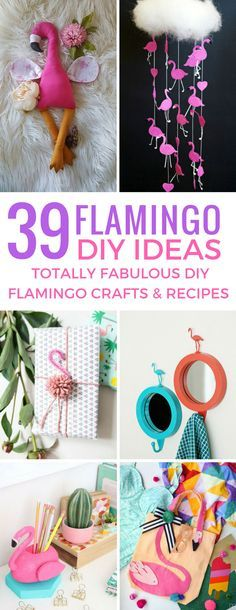 39 Totally Fabulous DIY Flamingo Crafts and Recipes You'll Fall in Love With! - These DIY flamingo crafts are so much fun – the recipes are fab too! Thanks for sharing! Flamingo Party, Flamingo Gifts, Flamingo Decor, Flamingo Birthday, Pink Flamingos, Pink Flamingo Craft, Diy Craft Projects, Diy Home Crafts, Creative Crafts