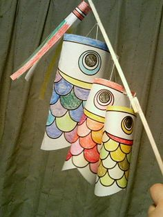 Kodomo no hi Koinobori printable craft - Boys Day! Fish Crafts, Crafts To Do, Crafts For Kids, Arts And Crafts, Boys Day, Child Day, Japan For Kids, Art For Kids, Kite Template