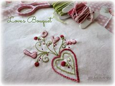 """""""Love's Bouquet"""" inside Month 2 of the Jenny of Elefantz Stitchery Club. It's so easy to join!"""