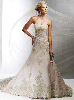 A-line/Princess Sweetheart Satin Tulle Bridal Dress W1058