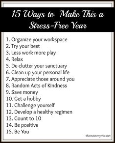 15 Ways to Make This a Stress-Free Year
