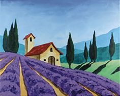 """Social Artworking Canvas Painting Design - Tuscan Landscape Fields of lavender are ubiquitous in the Tuscan landscape. This design would pair nicely with our olive oil tasting party idea, and you could serve lavender cupcakes for dessert. Make sure you decorate your party space with plenty of bunches of fragrant lavender to complete the theme.  CANVAS SIZE:  16"""" x 20""""  TIME TO PAINT:  approximately 2 hours 30 minutes"""