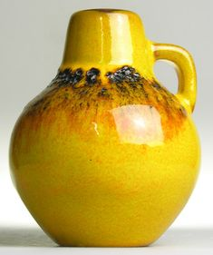 West German Pottery Modernistic Mid 20 th Century Vintage Retro Yellow Fat Lava