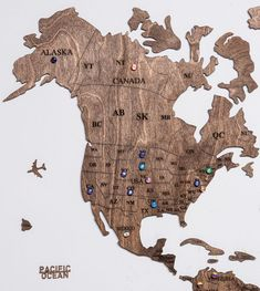 Rustic Brown Wood World Map with USA borders by WoodPecStudio. Travel push pin maps for wall office decor, bedroom and living room rustic decor, hallway decoration. World maps from wood for wall decor in farmhouse style. Push Pin World Map, World Map Wall Art, Map Wall Art, Anniversary Gift, Wooden Travel Push Pin Map, Housewarming Gift #woodenmap #walldecor #wallart