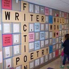 Scrabble Wall | 31 Incredible Bulletin Boards For Back To School