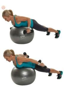 10 Must-Do Strength Training Moves For Women Over 50: Stability Ball Tricep Kick Back