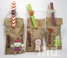 Halloween mini treat bags - -Stampin' Up! - Googly Ghouls - created by Monika Davis Dulces Halloween, Bonbon Halloween, Halloween Paper Crafts, Adornos Halloween, Halloween Treat Bags, Halloween Goodies, Halloween Projects, Halloween Treats, Holidays Halloween