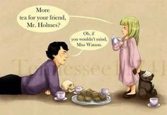 So sweet. Sherlock takes his skull to a tea party. Oh and I'm sure Dr. John Watson had a little . Holmes and Miss Watson's Tea Party Sherlock Holmes, Sherlock Fandom, Sherlock John, Funny Sherlock, Watson Sherlock, Sherlock Comic, John Watson, Johnlock, Mrs Hudson