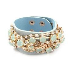 blue wrap bracelet with chains and rhinestones