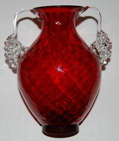 Beautiful red Murano glass Vase