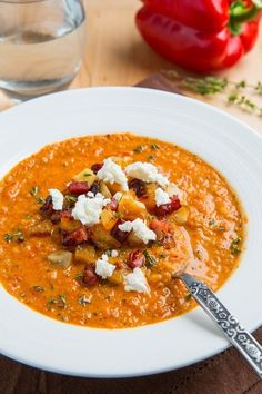 Creamy Roasted Red Pepper and Cauliflower Soup with Goat Cheese | Here Are 21 Healthy Fall Soups To Stock Your Freezer