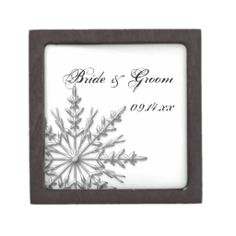 Silver Tone Snowflake Winter Wedding Gift Box Premium Jewelry Box