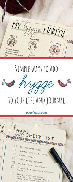 Adding Hygge to my journal routine for cozier, happier winters! #plannerstickers #planneraddict #planners #journalingprompts #journaling #journal #plannerideas #happinessplanner #bulletjournalideas #bulletjournal