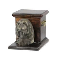 Wooden urn, made of birch with cold cast bronze statue ♥ Cremation Boxes, Dog Cremation, Dog Urns, Bearded Collie, Brass Handles, Birch, Your Pet, Decorative Boxes, It Cast