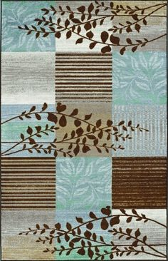 Toledo Chocolate Brown Teal Blue Modern Vine Rugs 6071