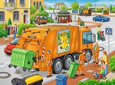 Waste Collection, a Ravensburger jigsaw puzzle for kids, found in the Kick-Ass Kids section of KICKASSPUZZLES. This is a frame puzzle; no box is included. Picture Comprehension, Sequencing Pictures, Drawing Competition, Computer Lessons, Picture Composition, Jigsaw Puzzles For Kids, Social Skills Activities, Picture Writing Prompts, Hidden Pictures