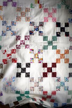 vintage nine-patch quilt top by cauchy09, via Flickr