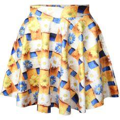 Orange Daisies Printed Cute Ladies Pleated Skirt ($14) ❤ liked on Polyvore