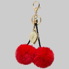Red Faux Fur Cherry Pom Pom Keychain