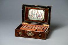 Шкатулка – ящик для красок. Россия. Около 1793-1800 гг. Дерево, бронза, стекло, шелк; акварель, эгломизе, полировка, сухая краска.
