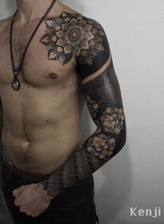 Mandala full sleeve tattoo for man - Mandala full sleeve tattoo. Perfect for those who want an arm filled with beautiful mandala designs. With each petal and honeycomb portrayed in the design, the tattoo just simply looks more and more enchanting.