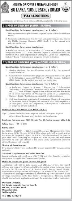 Sri Lankan Government Job Vacancies At Ministry Of Provincial