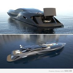 Gray luxury yacht with garage for car