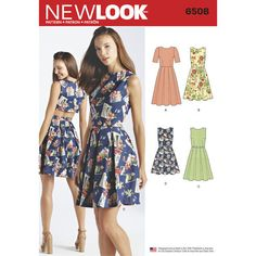 f7b2450108f3 New Look Pattern 6508 Misses  Dress with Open or Closed Back Variations  Dress Sewing Patterns