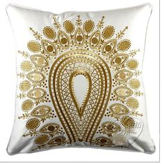 MNE2, 45X45 CM Baroque Empire Gold Metallic Peacock Embroidery French White Silk Pillow Cushion Model House Soft Outfit