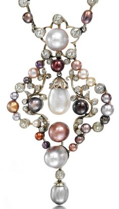 COLOURED NATURAL PEARL AND DIAMOND NECKLACE, LATE 19TH CENTURY The pendant of stylised foliate design, set with baroque natural pearls of various colours and millegrain collet-set with circular-cut and cushion-shaped diamonds, suspended from a similarly-set necklace, length approximately 460mm, two pearls deficient.