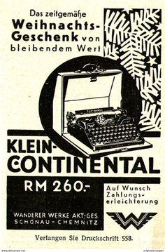 Original-Werbung/ Anzeige 1931 - WANDERER KLEIN - CONTINENTAL SCHREIBMASCHINEN /SIEGMAR - SCHÖNAU - Ca. 55 X 80 Mm - Werbung