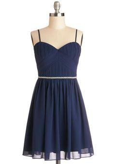 Midnight Majesty Dress - Chiffon, Woven, Short, Blue, Solid, Pearls, Rhinestones, Prom, Wedding, Cocktail, Bridesmaid, A-line, Spaghetti Straps, Better, Sweetheart