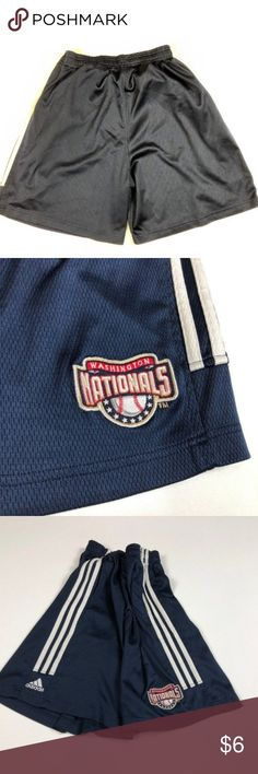 Adidas Washington Nationals Shorts Adidas Athletic Shorts Washington Nationals Logo size M or L  Lightly worn, no damage, no stains, no snags  I think its a size Large or Medium, the tag doesn't say  color: dark blue adidas Shorts Athletic
