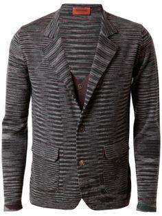 MISSONI - Striped wool blazer with interior cardigan