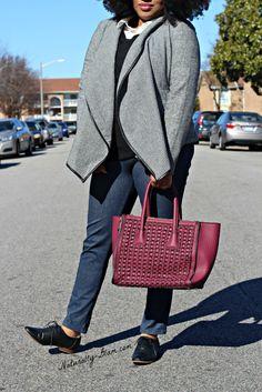 Shawl Front Blazer | Burgundy Tote | Oxfords